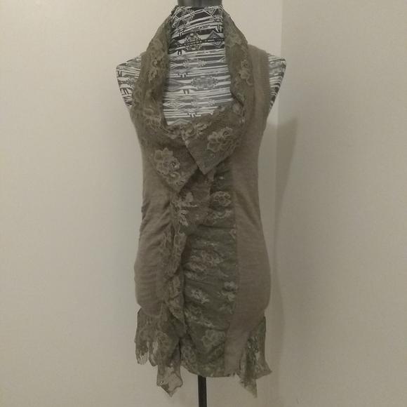 BKE Boutique moss green lace & knit zip up vest